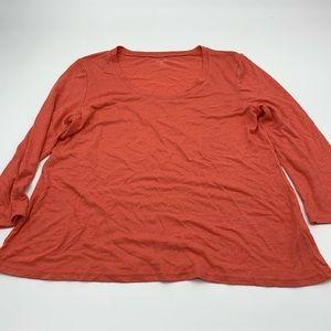 Garnet Hill Linen Blend Scoop Neck LS Top M